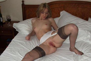 Elegant housewife likes wearing stockings